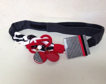 Vintage kitsch waist belt funky red black white rope adjustable by Carolyn Tanner