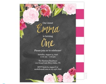 Birthday Invitations for Girls - 1st Birthday Invitation Chalkboard - Pink & Gold Birthday - Floral Birthday Invitation -  Printable Invite