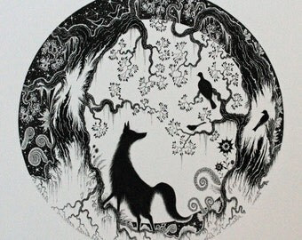 Illustration of Fox and fox black and white picture and fox ink drawing and fox and moon drawing and fox illustration and fox ink picture