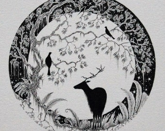 Illustration of Deer and Stag drawing and stag illustration and stag with moon and stag silhouette and deer picture and deer in ink and deer