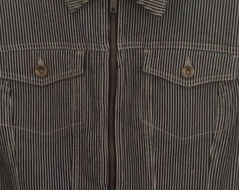 Lovely striped blue white jean jacket Norma Kamali size XL long sleeved zipper with pockets.