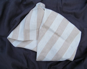 100% Natural Linen Bath Towel / Sheet  Natural Linen Offwhite and Cafe Latte Stripes.  Bathroom Linens.