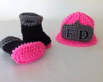 Baby Girl Firefighter Fireman Hat & Boots - Photography Prop - Baby Shower Gift - Gender Reveal - Announcement