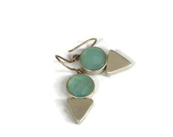 Aqua ChalcedonyEarrings, Silver Triangle Amulet Earring Drops Blue Gemstone Earrings  Blue Stone Dangles  Artisan Handmade by Sheri Beryl