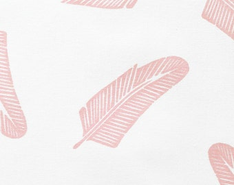 Quill in Strawberry Stain Pink : organic cotton handprinted fabric panel