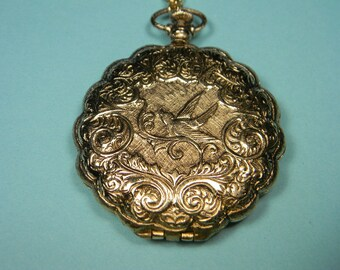Ornate Vintage Bird Compact Necklace, Double-Sided, Powder, Mirror
