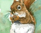 ACEO Limited Edition 3/25- Squirrel in May, Art print of an original ACEO watercolor by Anna Lee, Cute animals, Small gift for animal lovers