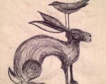 Bird hare cushion
