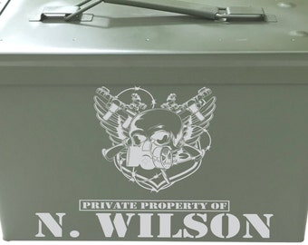 Personalized Ammo Can Engraved Custom Groomsman Gift Present Manly Men Guys Gun Hunter Skull Rifle Best Man Unique Fathers Day