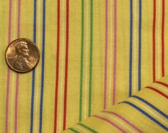 Yellow Cotton Fabric / Yellow Stripe Fabric / Cotton Fabric / Cranston Print Works / Quilting Fabric