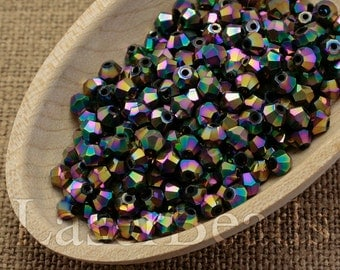 50pc 4mm Rainbow Bicone Beads 4mm bicone Metallic rainbow Machine Cut beads Bicone glass beads Colorful iris last
