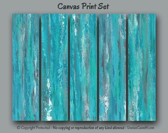 Large wall art, Abstract painting Canvas print set 5 piece, Multi panel, Teal home decor, Bedroom, Gray Turquoise, Office, XL wide oversized