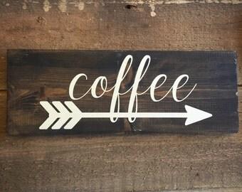 Coffee sign - kitchen decor, coffee arrow sign