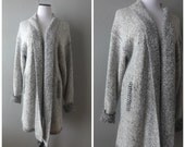 80s Gray Black Boucle Cardigan Vintage Oversized Baggy Ladies Duster Sweater Size M/L Medium Large Long Hipster Boho Jacket Coat 1980s Top
