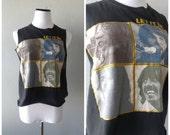 Beatles Faces Tshirt Let It Be Cut Off Low Cut Sides Womens T shirt Tank Top Size M/L Medium Large 60s 70s Band Shirt Hippie Boho T Shirt