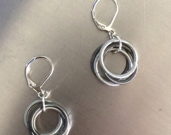 Piano Wire Earrings Silver & Slate hoops