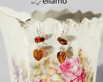 Heart shaped sterling silver earrings with natural Baltic amber, cognac color with inclusions, delicate Amber, light weight heart earrings