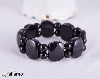 Black agate stretch bracelet, stone bracelet, stone adjustable, elastic bracelet, large oval black beads