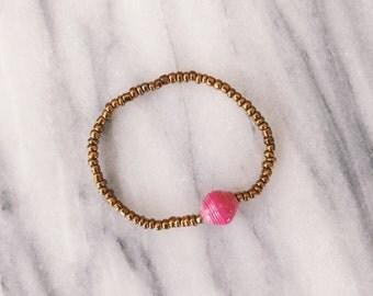 Pink Single Bead Bracelet - made in Uganda