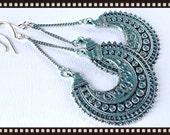 Patina Blue Earrings - Tribal earrings - Hoop Earrings - Bohemian Earring - Gypsy Earring-  Filigree Earring - Ethnic Earring-  Boho Earring