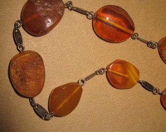 Vintage Baltic  honey butterscotch Amber Art Deco Bauhaus Necklace L.32 cm beads 2,3-1,6 cm top