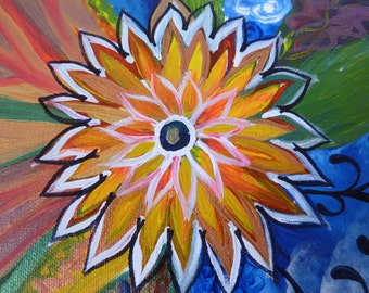 Original Flower Painting-One of a Kin-Bright-Colorful-Sunflower-Orange and Yellow Flower-Clouds