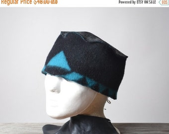 End Of Summer SALE Leather and Wool Hat - Native American Inspired Hat - Southwest Wool Hats - OOAK
