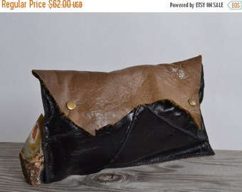 ON SALE Cowhide Leather Clutch - Leather Clutch - Women's Leather Clutch - OOAK Leather Clutch Pouch - Women's Accessories