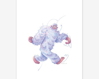 Abominable Snowman Yeti Mythical Creature Print A5