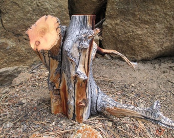 Naturally Weathered  and Sculpted Bristlecone Pine Wood Pet Urn/ Memorial Keepsake