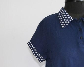 Vintage women navy shirt. Women's heart print blouse. Women's summer wear. Women's top. Women's shirt/ size 48. plus size