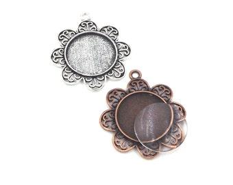 12 1 inch circle flower cameo pendant setting with glass domes in the color of antique silver or antique copper