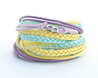 Summer trends colors, Mint Yellow Violet Wrap Bracelet, Pastel Colors Bohemian Jewelry, Soft Colors Gypsy Bracelet, gift for her , boho chic