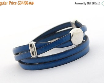 ON SALE Leather Bracelet, Navy Blue Leather Wrap Bracelet, Wrap Bracelet, Royal Blue Men's Jewelry, Leather Cuff for Men, gift for her, doub
