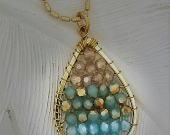 Tear Drop Wire Wrapped Crystal Pendant, Matt Gold Adjustable Chain,