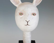 Ceramic Original Handbuilt Sculpture, White Rabbit