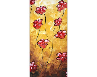 Impasto Flower Painting 'Floating Poppies' by Megan Duncanson - Abstract Flower Art Warm Wildflower Art on Metal or Acrylic