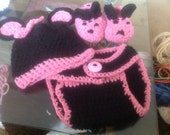 Baby Girl Mouse  3 Piece Diaper Set