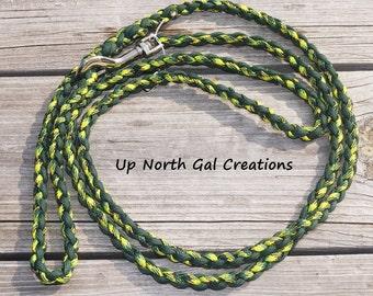 550 Paracord Dog Leash,Dark Green and Green Camo Dog Leash, 6 Foot Leash,Rated for 100 Pound Dog,Made in Michigan,Bug Out, Prepper Gear, USA
