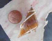 Cabochon-Cacoxenite Super Seven Silver  Wrapped Pendant