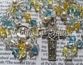 Blue & Yellow 'Bluebird' Swarovski crystal bicone and white pearl rosary with silver plated Pope Francis center and crucifix