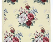 REMNANT of Vintage Wallpaper, Single 32 Inch Piece - Segmant of Floral Walpaper with Burgundy Red White and Blue Cabbage Roses on Yellow