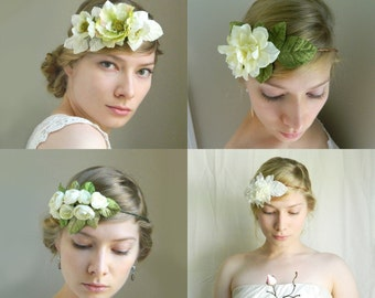 Flower Crown Grab Bag! White and Green - Five flowercrowns for festivals photo shoots or weddings