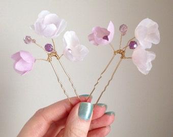 Raspberry Blush Blossom Pins - Set of 2 - Handmade silk flower bridal adornment - style 011