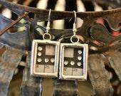 STEAMPUNK Industrial Earrings Crossword Puzzle Rhinestone Soldered Silver Glass Bling 3