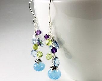 Multi gemstone cluster earrings with sterling silver, blue topaz, chalcedony, amethyst, peridot, handmade fine earrings, gift, ER2111