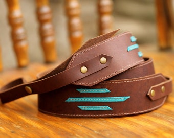 Turquoise Striped All Leather Banjo Strap