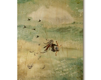 Fantasy cloud swing, wooden art print, dreamy art print, feathers, swing, faded art, ocean waves, nature quote, inspirational