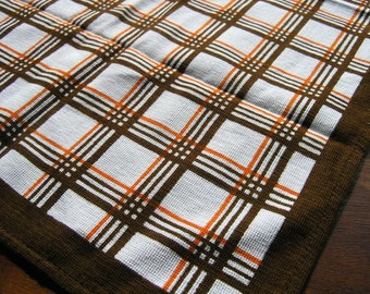 Vintage Dish Cloth, Retro Brown and Orange Striped Dish Towel, 60s 70s Cotton Dishcloth made in GDR (former East Germany)