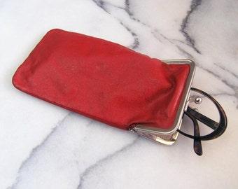 Vintage Glasses Case, Red Faux Leather Sunglasses Pouch, Retro Pleather Glasses Case, Vintage Glasses Bag